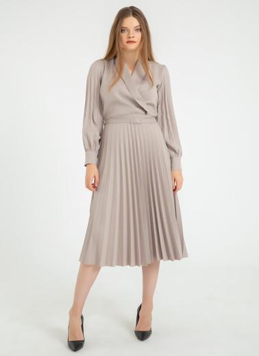 Foremia Atlas Kol Ve Eteği Piliseli Ceket Yaka Elbise Taş